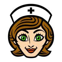 Freundliche weibliche Krankenschwester Cartoon Face Smile-Vektorillustration vektor