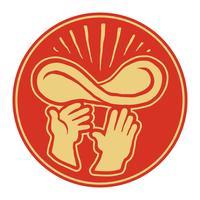Hände von Chef Throwing Pizza Dough in der Luft, Pizzeria-Vektorlogo