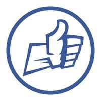 Die Karikatur-Hand, die positive Daumen herstellt, up Geste