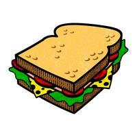 Sandwich tecknad vektor illlustration