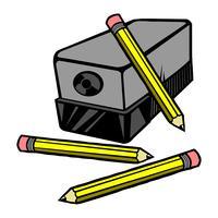 Vector Illustration eines elektrischen Bleistiftspitzers mit Bleistiften.
