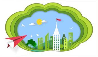 Framgångskoncept, Rött plan som flyger på himmel till arkitektonisk byggnad med en flagga på toppen. vektor