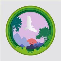 Papperskonst av fågel på himmel i skogsbakgrund, Origami koncept natur och djur idé.