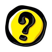 Fråga varumärke tecknad vektor ikon