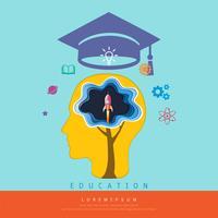 Bildungs- und Lernkonzept, Gehirn, das ein Startraumraketenfliegen, über seinem Kopf denkt, ist eine Staffelungskappe und Wissensikonen.