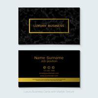 Luxusvisitenkarten vector Schablone, Fahne und Abdeckung mit Marmorbeschaffenheit und goldenen Foliendetails.