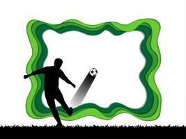 Papierkunst schnitzen vom Fußballhintergrund mit Fußballspieler.
