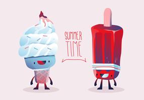 Nette Charakter-Sommer-Eiscreme-Vektor-Illustration vektor