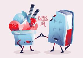 Nette Charakter-Sommer-Eiscremevektorillustration vektor