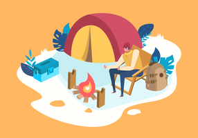 sommar camping vektor platt illustration
