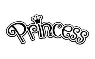 Rosa Girly Princess Logo Text Grafisk Med Krona vektor