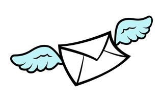 Flying Wings Kuvert ikon vektor illustration