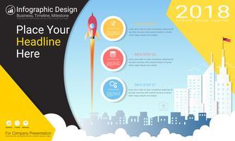 Business infographics rapport, Milestone tidslinje eller vägkarta med Process flowchart 3 alternativ. vektor