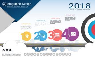 Business infographics rapport, Milestone tidslinje eller vägkarta med Process flowchart 4 alternativ.