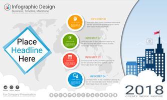 Business infographics mall, Milestone tidslinje eller vägkarta med Process flowchart 4 alternativ. vektor