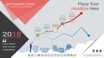 Finansiellt diagram Infografisk mall, Växande och fallande marknadsdiagram eller Process flödesdiagram 5 alternativ.