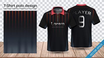 Polo t-shirt design med dragkedja, Fotbollsjack sport mockup mall för fotbolls kit eller aktiva uniform.