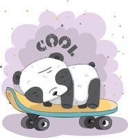 Netter kleiner Panda auf einem Skateboard vektor