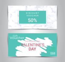 Glücklicher Valentinstag, Geschenkgutscheine und Gutscheine, Rabattkupon oder Fahnenweb-Förderungsschablone mit unscharfem Hintergrund.