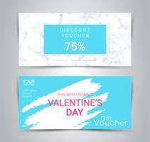 Lyckliga Alla hjärtans dag, presentkort och kuponger, rabattkupong eller bannerwebbkampanj med suddig bakgrund. vektor