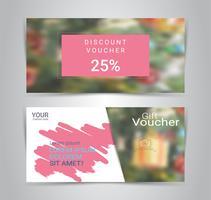 Presentkort och kuponger, rabattkupong eller bannerwebmall med suddig bakgrund. vektor