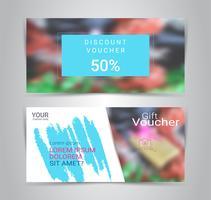 Presentkort och kuponger, rabattkupong eller bannerwebmall med suddig bakgrund.