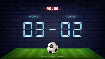 Digitale Zeitanzeigetafel, Neonlicht auf dunklem Hintergrund für Fußballspielteam A gegen Team B.
