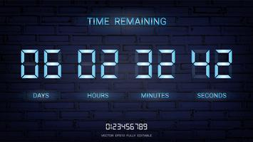 Återstående nedtællningstimer eller Klockräknad resultattavla med dagar, timmar, minuter och sekunder.