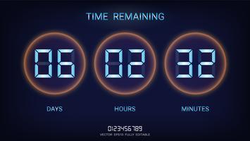 Verbleibender Countdown-Timer oder Uhrzähler-Anzeigetafel mit Anzeige von Tagen, Stunden und Minuten. vektor