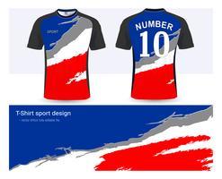 Fotbollströja och t-shirt sportmockupmall, Grafisk design för fotbollsklubb eller aktiva uniformer. vektor