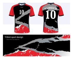 Fußballtrikot- und T-Shirt-Sportmodellschablone, Grafikdesign für Fußballverein oder Activewearuniformen. vektor
