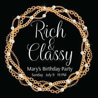 Party Einladungsvorlage. Runder Rahmen mit gedrehten goldenen Ketten. Mit Perlen. Auf schwarz. Vektor-illustration