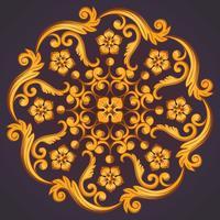Vacker rund prydnadselement för design i gula apelsinfärger.