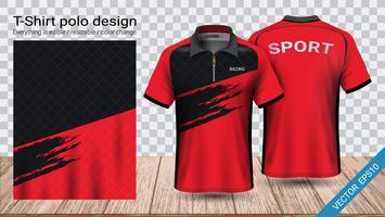 Polo-T-Shirt-Design mit Reißverschluss, Fußballtrikot-Sportmodellvorlage für Fußballtrikot oder Sportkleidung.