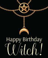 Grattis på födelsedagen häxkort. Gyllene metallhalsband. Pentagram hänge och kedjor. På svart. Vektor illustration