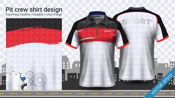 Laufen des T-Shirts mit Reißverschluss, Sportkleidermodellschablone.