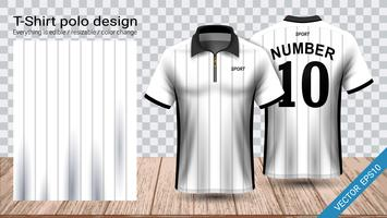 Polo-T-Shirt-Design mit Reißverschluss, Fußballtrikot-Sportmodellvorlage für Fußballtrikot oder Sportkleidung. vektor