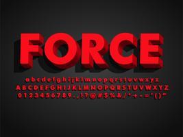 Stark Fet Modernt Retro 3D Red Typeface Font vektor