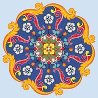 Färgrik etnisk rund prydnadsmandala. Vektor illustration