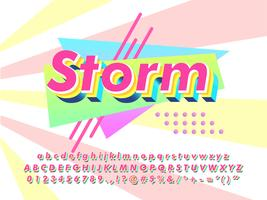 90er Jahre Typografie 3d Textanzeige vektor