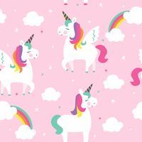sömlös lila unicorn mönster vektor illustration