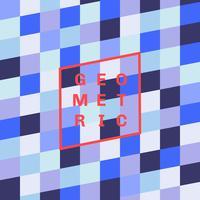 Blauer Tonhintergrund des abstrakten geometrischen quadratischen Musters.