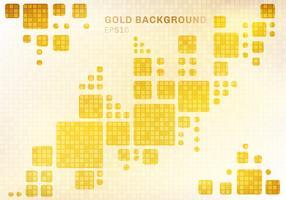 Abstraktes weißes geometrisches auf glänzendem goldenem quadratischem Mosaikmusterhintergrund und Beschaffenheitsluxusart.