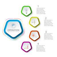 Pentagons etikett infographic med 5 steg.