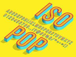 3d isometrisk popkonst typsnitt