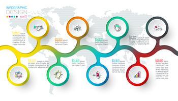 Cirkeletiketten infografisk med steg för steg. vektor