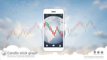 Mobila aktiehandelskoncept med ljusstake och finansiella diagramdiagram på skärmen. vektor
