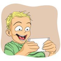 Pojke spelar spel på smartphone och väldigt spännande vektor
