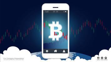 Mobilt börskoncept med bitcoin och ljusstake grafdiagram på skärmen.