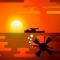 Silhuett av torped, symboliserar kriget.